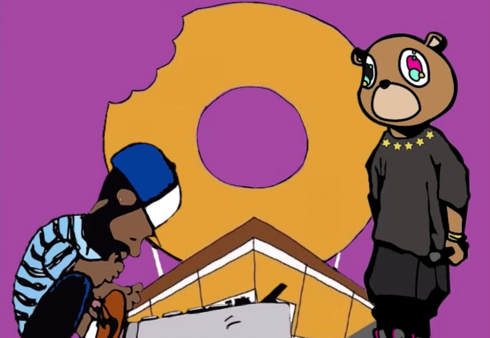 Cartoon renditions of Kanye West and J Dilla on the cover art for Cameron Smiley's latest mash-up tape.